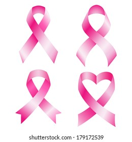 Set of pink breast cancer ribbons. Raster.