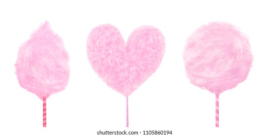 Set of pink delicious sweet cotton candy isolated on white background. Concept fashionable summer food.