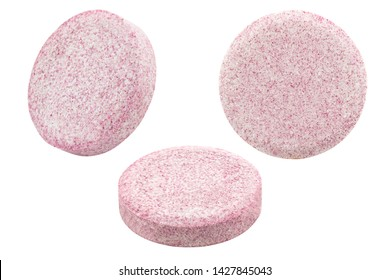 set of pink effervescent tablets isolated on white background