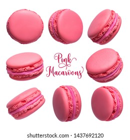 Set of pink french macarons cakes isolated on white background