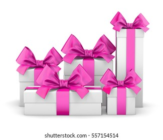 Set of pink gift box isolated for Valentine Day , 3d rendering