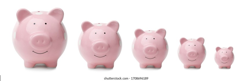 Set with pink piggy banks on white background. Banner design