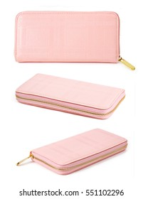Set of pink purse woman isolated on white background.