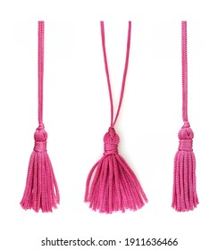Set of pink silk tassels isolated on white background for creating graphic concepts