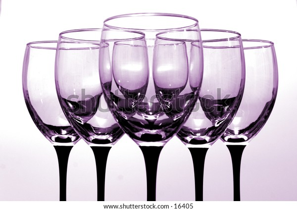 Set of pink tinted wine glasses.  If you would like different color tinted glasses, email me.
