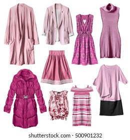 Set of pink woman clothes isolated over white