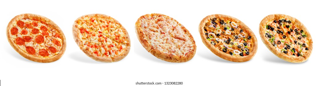 Set of pizzas: pepperone, cheese, chicken and tomatoes, tuna, shrimp. toning. selective focus