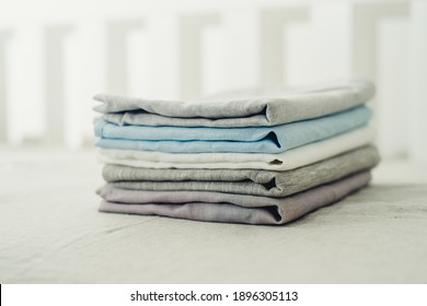 a set of plain linen bedding close-up