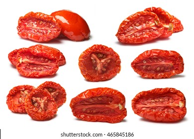 Set of plain and oiled sun-dried tomatoes, medium residual moisture content, with seeds. Clipping paths, shadows separated, infinite depth of field. Design elements