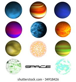 Set of planets isolated over white background