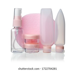 set of plastic bottles and containers for cosmetics