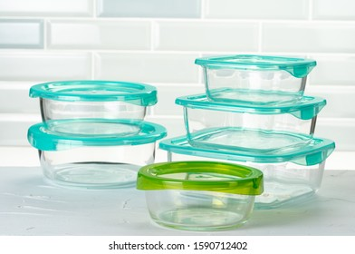 Set of plastic boxes kitchen ware on kitchen counter