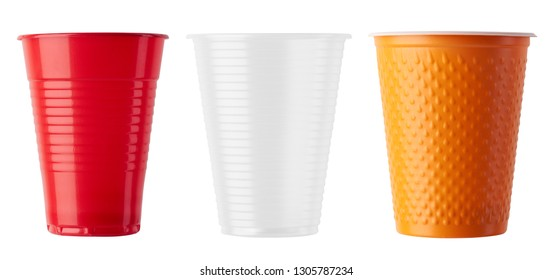 Set of Plastic cup isolated on white background
