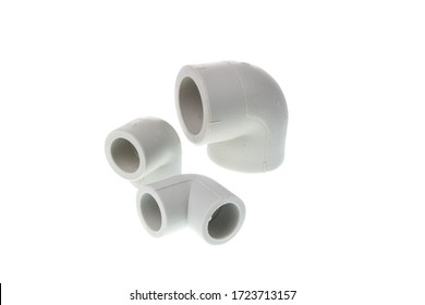Set of plastic PPR 90 degree fitting for water pipes, isolated on white background