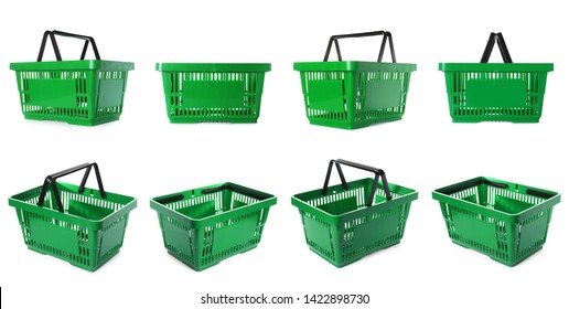 Set of plastic shopping baskets on white background