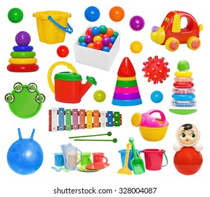 Set of plastic toys: pyramid, hand-pouring pot, glockenspiel, roly-poly, bucket, drum, massage ball, utensils, gymnastic ball isolated on white background