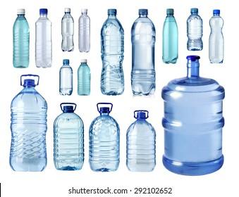 set of  plastic water bottle isolated on white background