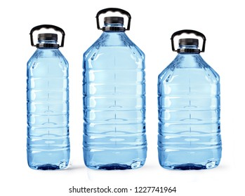 set of plastic water bottles isolated on white background