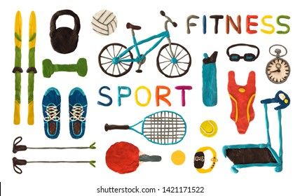 Set of plasticine sport and fitness equipment isolated on white background. Handmade clay putty shoes, bicycle, game accessories, etc.