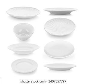 set of plate and bowl on white background