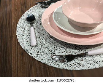 Set of plates and silverware
