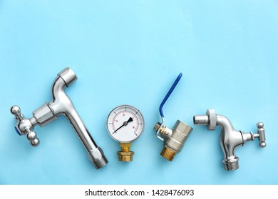 Set of plumbing items on color background