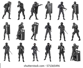 Set of police officers SWAT with firearms ballistic shield studio shot isolated on white background