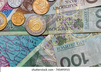 Set of Polish money (notes and coins) over map background. Poland and Warsaw focus.