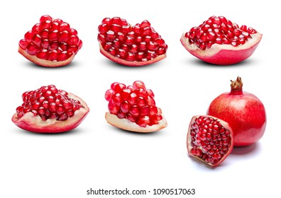 Set of Pomegranate pieces isolated on white