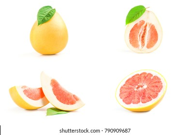 Set of pomelo over a white background