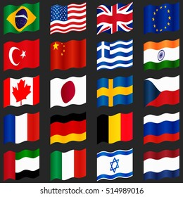 Set of popular country flags. Waving flags