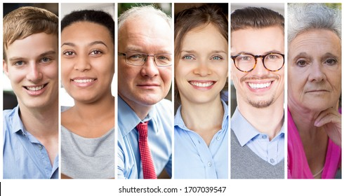 Set portrait of exceptional unique people wearing casual clothes. Differently dressed people of all ages displaying genuine emotions. People and emotions concept.