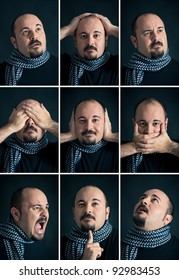 Set portrait of Man with different expression on dark background.