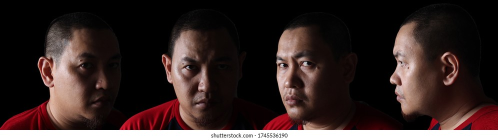Set of portraits collage. Close-up portrait of an Asian man in the dark with half face lighting. Different angle view of a man face, long horizontal web banner template