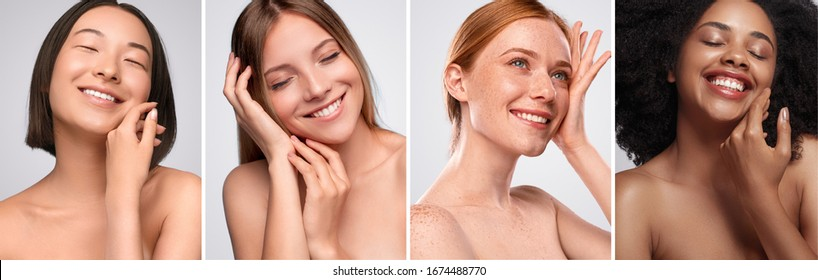 Set of portraits of delighted multiracial ladies smiling and enjoying softness of clean skin against gray background