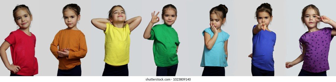 Set of portraits of pretty preschool girl in bright colorful t-shirts posing over white background, beauty and fashion concept