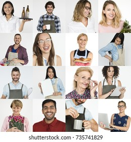 Set of portraits with small business concepts