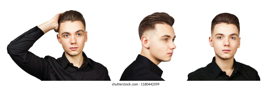 Set of portraits of young guy with pompadour haircut isolated on a white background.