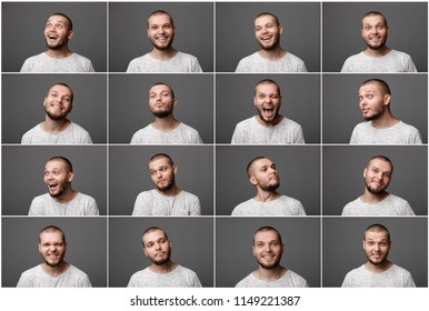 set of portraits of a young man with different positive emotions