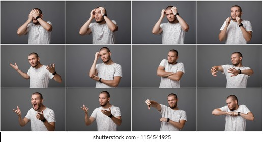 set of portraits of a young man with different negative emotions