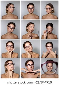 A set of portraits of a young woman wearing glasses with different happy emotions.