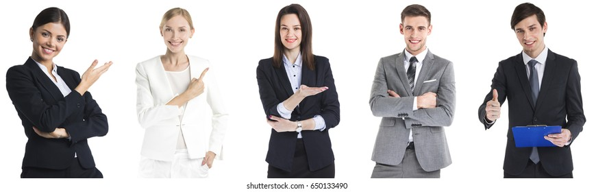 Set of positive business people isolated on white background