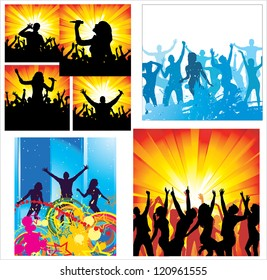 Set Posters of dancing girls and boys. Raster version