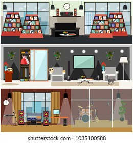 Set of posters with music shop, living room and radio studio interior. Radio broadcast concept, flat style design.