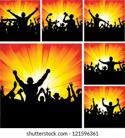 Set of posters for sports championships and music concerts. Raster version