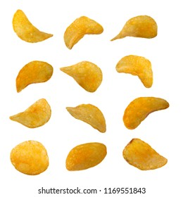 set of potato chips isolated on white background