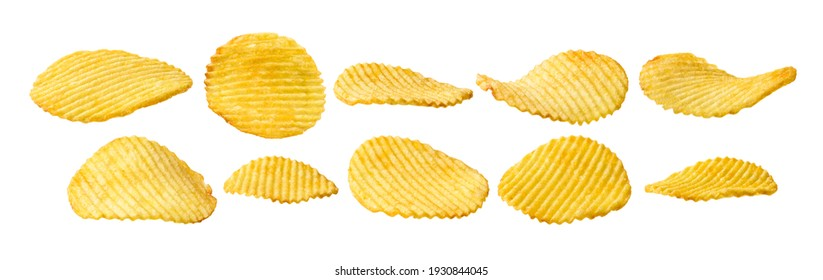 A set of potato chips. Isolated on a white background.