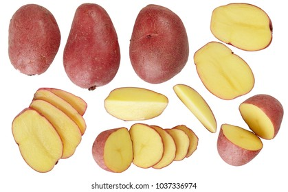 A set of potatoes. Useful vegetables. Additive. Isolated on white background.