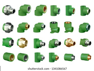 Set of PPR green pipe fitting