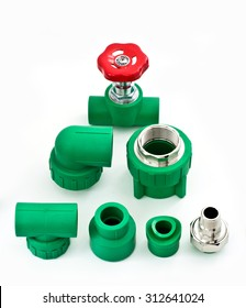 Set of PPR green pipes fitting and connectors with Red valve